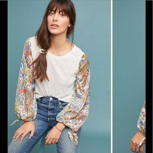 NWT Anthropologie Maybelle tied sleeve top